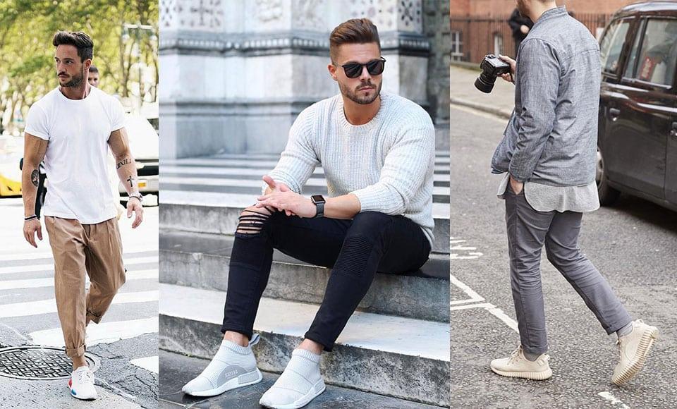 Giày thể thao hiện đại kết hợp với quần thể thao và giản dị với áo thun trẻ trung