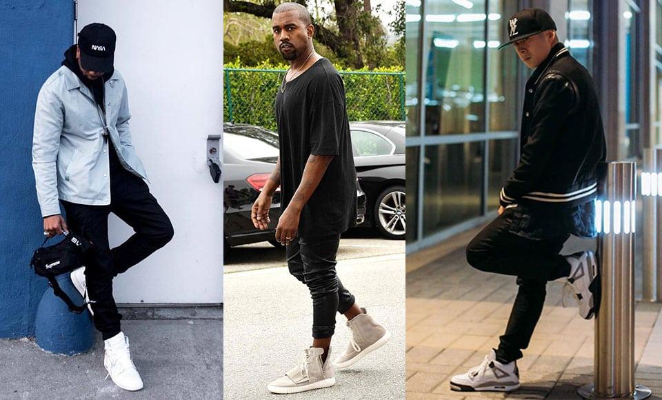 Giày thể thao thời trang cao cấp kết hợp với quần denim và áo thun rộng cá tính