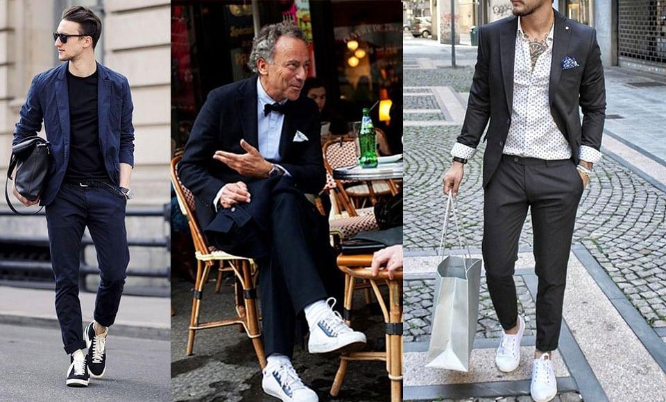 Phối giày thể thao sang trọng với quần kaki, quần tây, quần denim, chinos
